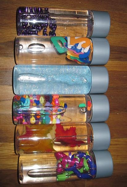 sensory bottles. I've made these before, however, I used oil in some too. Not only water. It's a good idea to glue the cap shut.