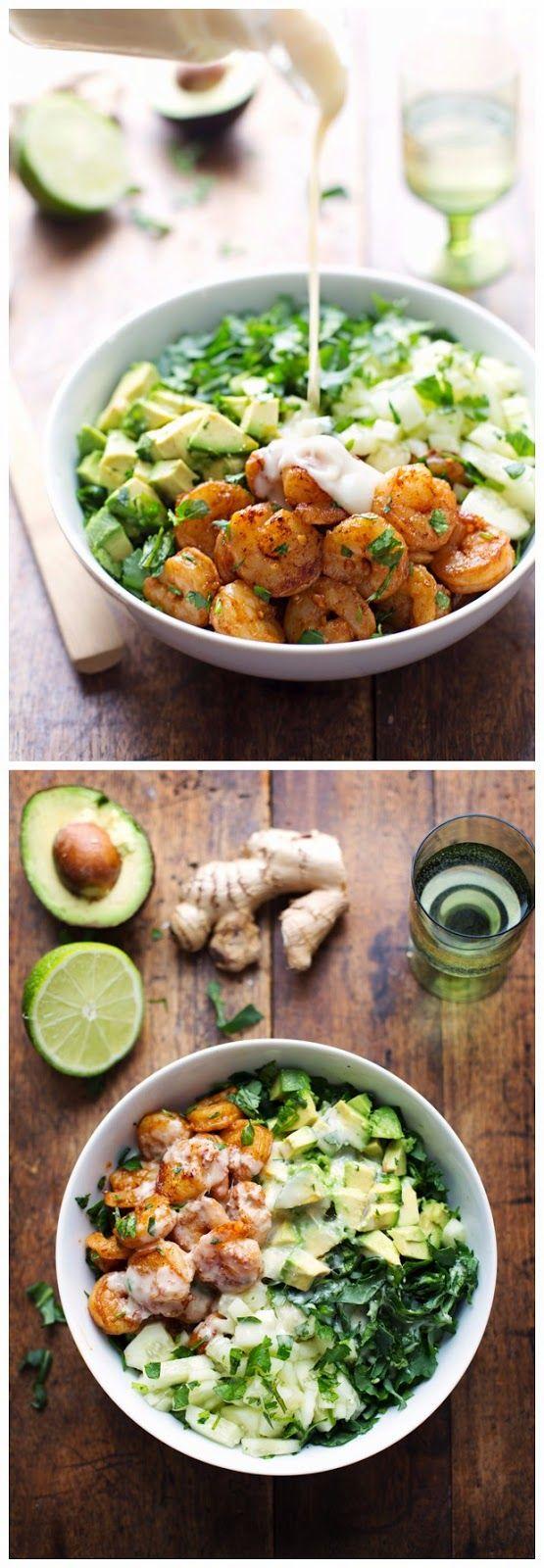 Spicy Shrimp and Avocado Salad with Creamy Miso Dressing