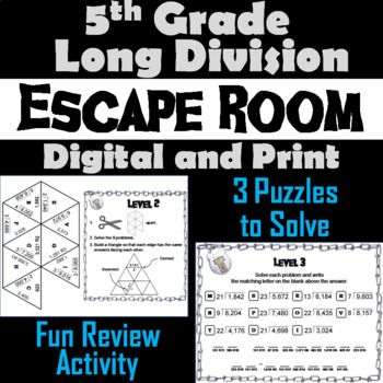 This breakout escape room is a fun way for students to test their skills with long division with remainders.