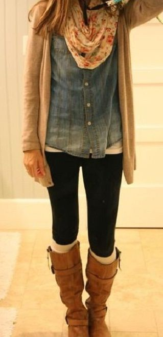 leggings, socks, boots, jean shirt.. relaxed at home comfort