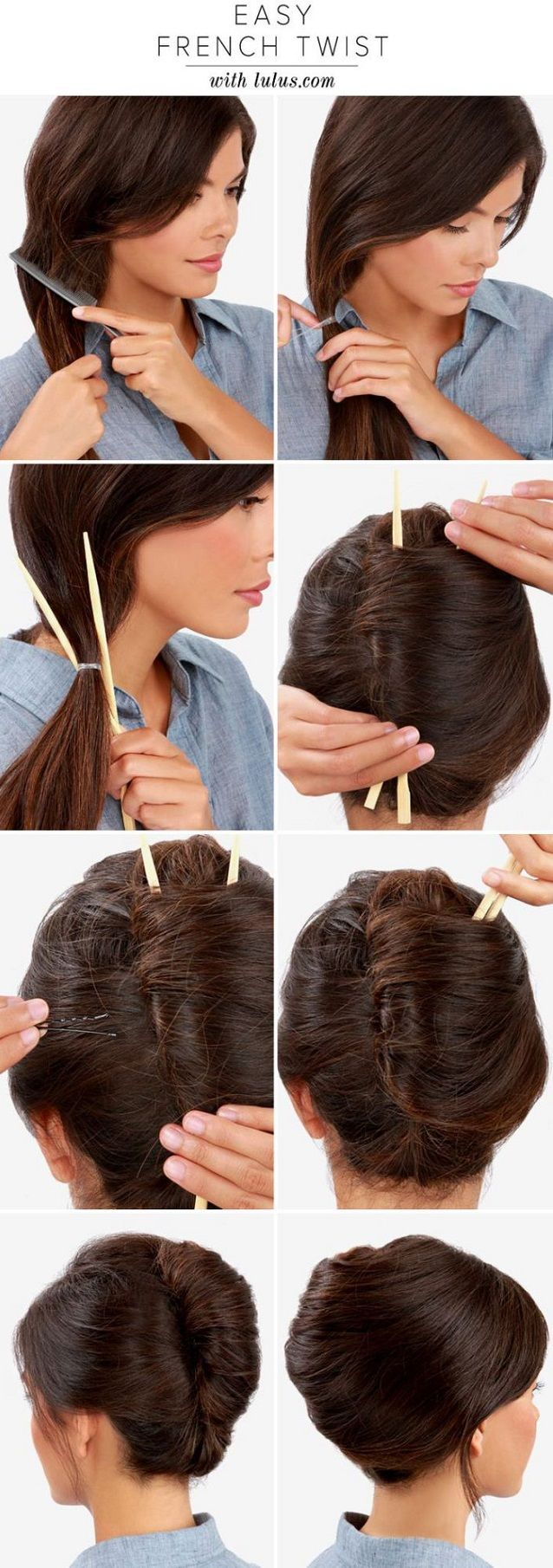 Make a French Twist Hairstyle Using Chopsticks
