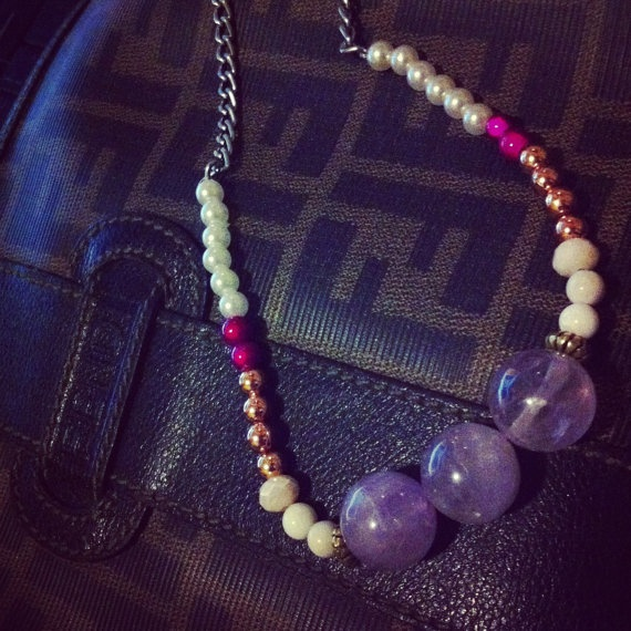 Colourful beaded genuine moonstone necklace by SapphiresandSilver, $34.99