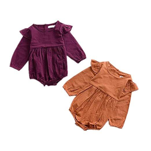 3487b6bd98d24 Amazon.com: Mother's Angel Infant Romper Baby Girl Twins Outfit Long ...