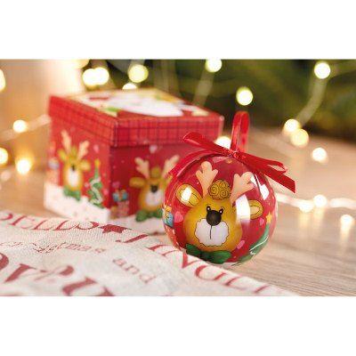 Glob Craciun cu desen amuzant in cutie cadou. #Glob pentru bradul de #Craciun cu desen amuzant, ambalat in cutie cadou cu motive asortate. Globul este prevazut cu agatatoare funda, de culoare rosie, decorat cu figurine amuzante, specifice sarbatorilor de iarna si poate fi inclus in campania de promovare drept #cadou #promotional pentru clienti, colaboratori sau angajati.