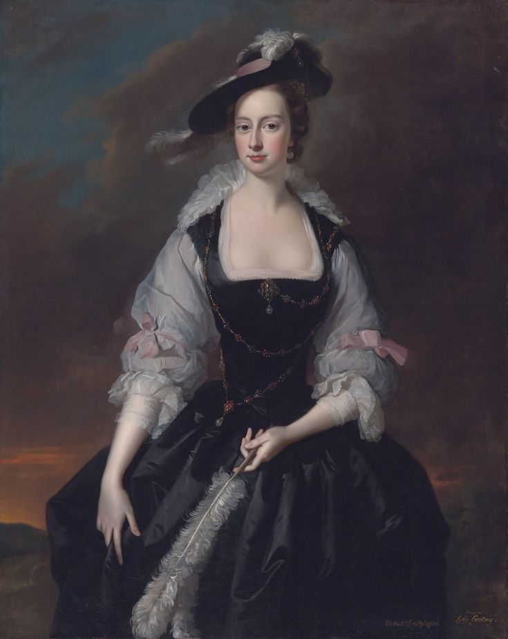ca. 1741 Frances Courtenay, née Finch, wife of William Courtenay, 1st Viscount Courtenay by Thomas Hudson (auctioned by Sothebys)