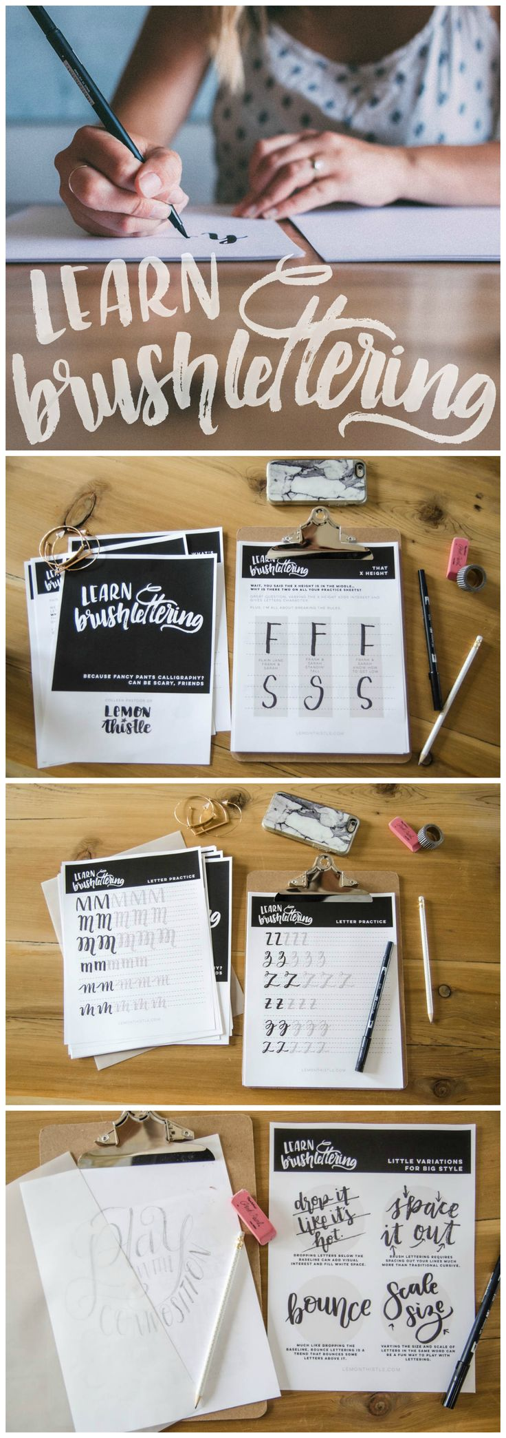 Learn Brush Lettering - Course from LemonThistle. Includes: 50+ page workbook, supply list, how to hold your pen, practice strokes, different style guides and how to digitize your hand lettering.