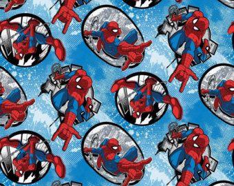 "Marvel la tela, tela de cómics: Marvel Comics - Spiderman tela insignias Toss en azul 100% algodón de la yarda 36 ""x 43"" (K32)"