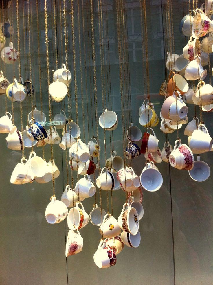 Another Version Of Hanging Teacups Tea Cup Display Tea