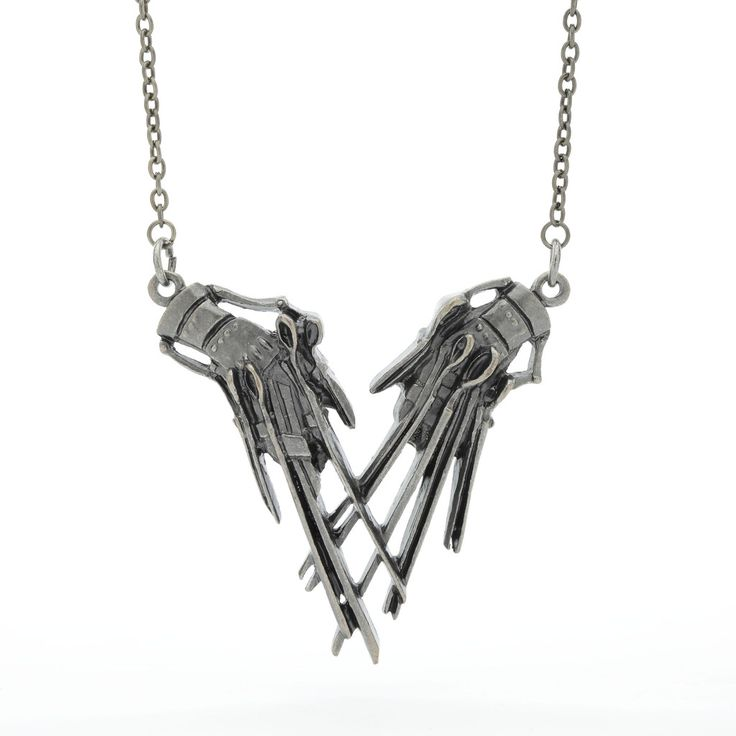 Edward Scissorhands in pewter on a lobster clasp chain || Rock Rebel