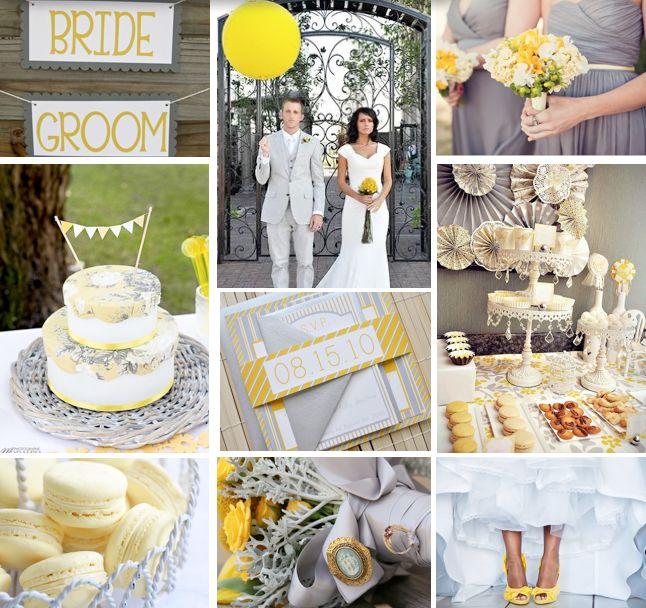 Grey and Yellow Wedding Idea Board