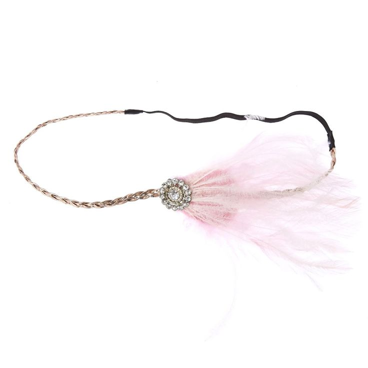 Look dapper in Icing's vintage flapper style headband. The rose gold-tone braid headband is decorated with a stone embellishment and soft feathers. Pair with Icing's other Flapper accessories for a complete look.