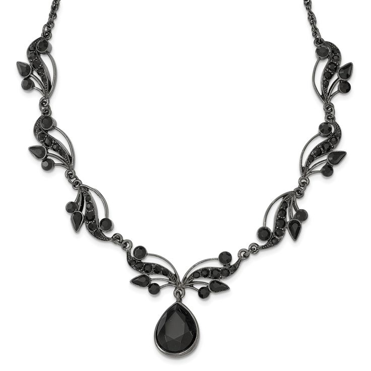 Black-plated Swarovski Crystal & Crystal Fancy w/3in ext. Necklace BF2553