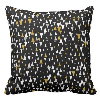 Triangle Modern Art - Black Gold Throw Pillow - black gifts unique cool diy customize personalize