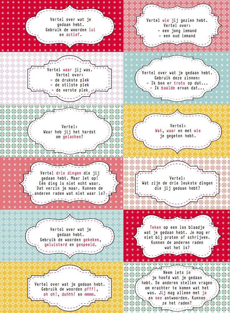 Interviewkaartjes: om te kletsen over het weekend of over de vakantie. Voor meer interactie, meer spreektijd voor de verlegen kinderen en vooral... meer plezier...http://www.malmberg.nl/juf/Kaartjes/archief-1/Interviewkaartjes.htm