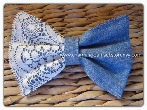 lace and denim hair bow.