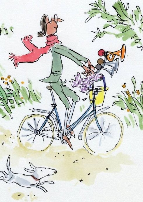 The cover for Mrs Armitage on Wheels, which Quentin Blake wrote and illustrated