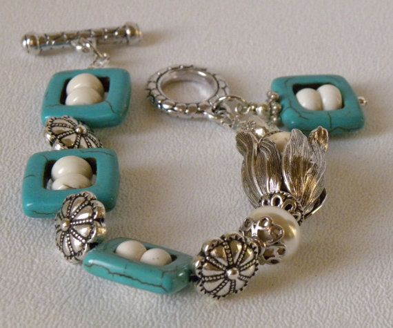Found on Etsy. Turquoise Handmade Beaded Bracelet Glass Pearl