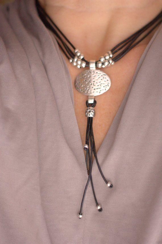 Silver Necklace Women Necklace Boho style Short Necklace Leather Necklace Silver Circle Women Jewelry Boho Jewelry Gypsy Jewelry