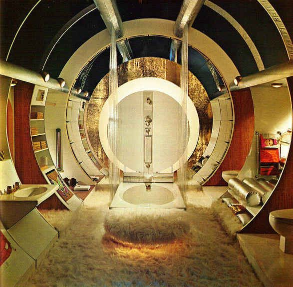 Seriously, this is an awesome bathroom. It looks like a cross between the Playboy Mansion and 2001: A Space Odyssey.