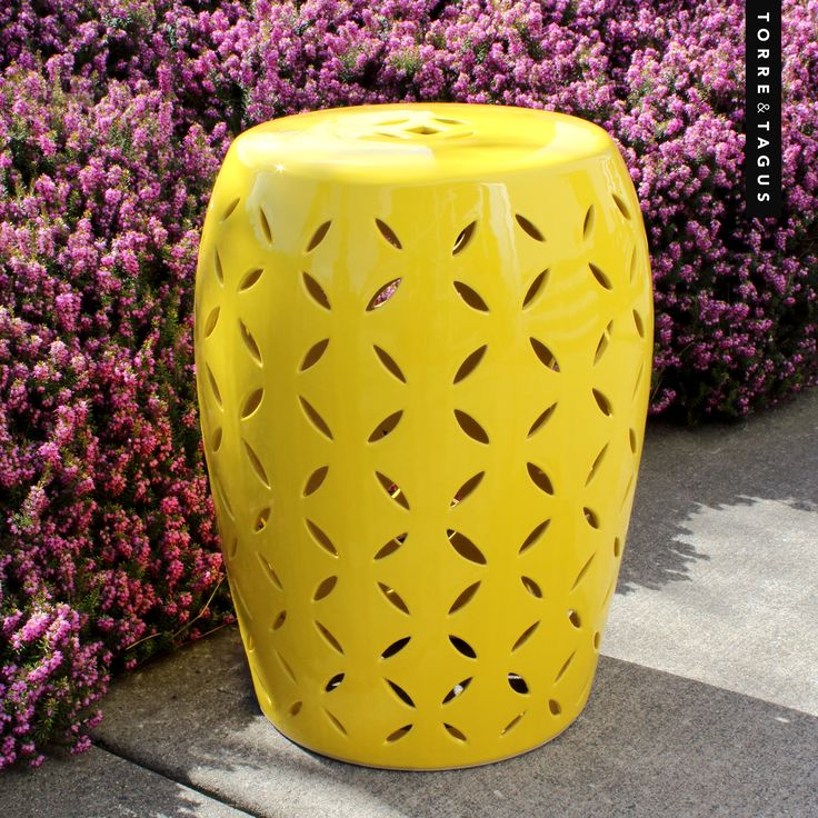 Add some extra sunshine to your patio with a bright yellow stylish Prosperity Ceramic Stool. A perfect stool for use indoors and out! #TorreAndTagus #CeramicStools #ColourYourHome #HomeDecor www.torretagus.com