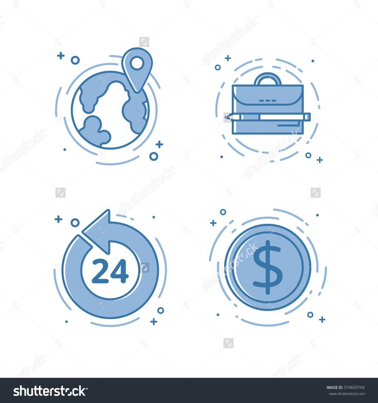 Vector illustration set of flat bold line icons with open 24 7, internet earn, portfolio, map with pin . Graphic design concept of online work or freelance. Blue outline isolated object.