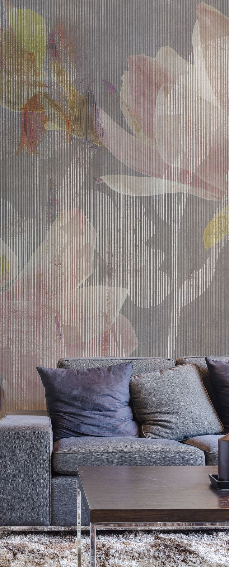 "Forget about your granny's floral wallpaper, ""Magnolia"" is the new way to make a wall a masterpiece. It fits really well in this relax area with the same color shades as the sofa. #Tecnografica #ItalianWallcoverings"