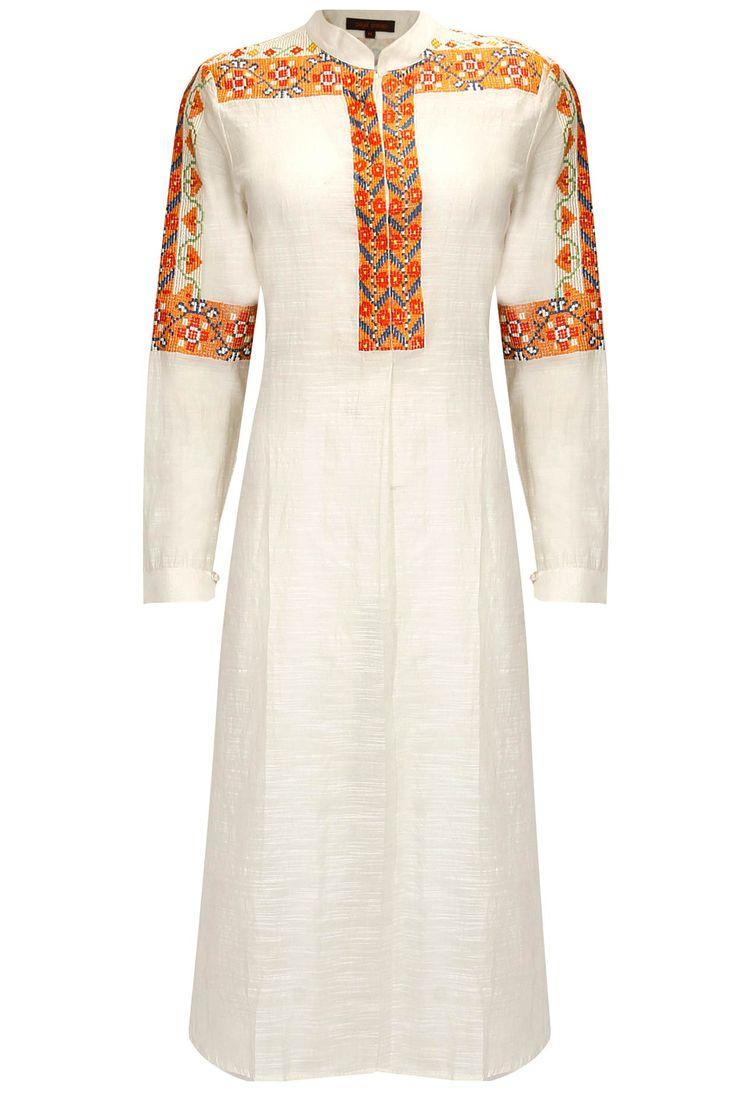 Ecru and orange embroidered tunic by Payal Pratap   Shop now:  http://www.perniaspopupshop.com/designers/payal-pratap      #shopnow #perniaspopupshop #payalpratap