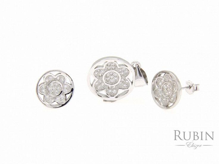 Cirkónia köves ezüst virág fülbevaló medál szett