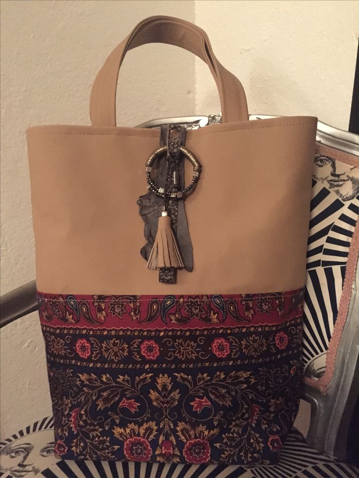 Tote bag kenMik Ecoleather with african Kitenge and masai beads decoration.Made In Kenya by italian designer
