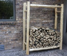 How to build a rustic firewood rack.