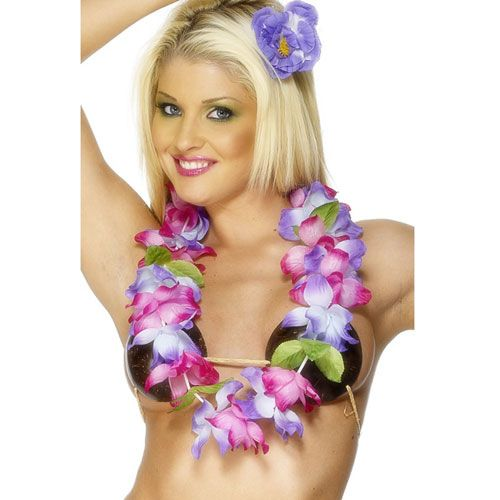 Purple and Pink Flowered Lei