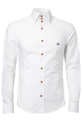This white classic Westwood shirting is instantly recognisable with its tall and stately three button collar. Made of stretch popeline it is tailored for a slim fit with darts and the Westwood Orb embroidered on the chest.