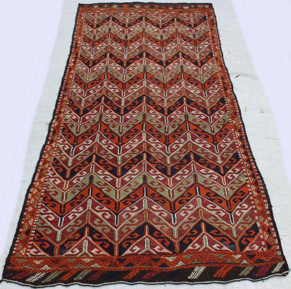 "Oversize Bohemian Kilim Rug, muted color Large Turkish Kelim Rug, earthy colours rug, pale orange green red Rug 9'6.6""x4'7"" / 291x140cm"