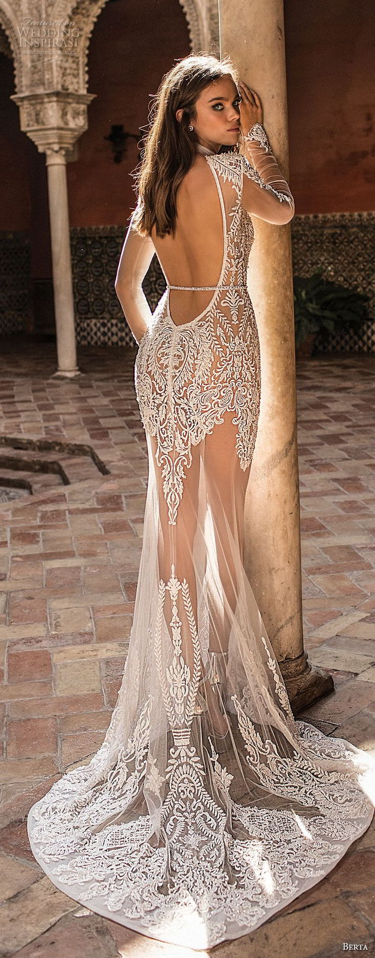 berta herbst 2018 braut langarm illusion high neck v neck stark verschönern …   – Couture Bridal