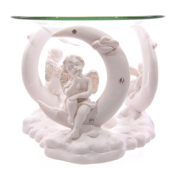 Small Cute Cherub Figurine in Moon White Angel by getgiftideas