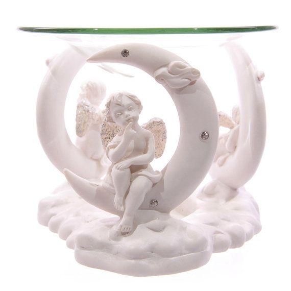 Small Cute Cherub Figurine in Moon White Angel by getgiftideas