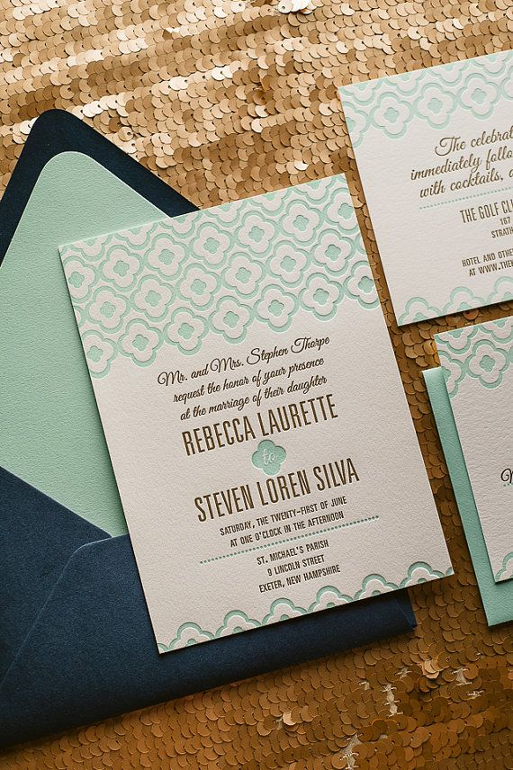 Navy & Mint Wedding Invitation, Mint Wedding Invite, Quatrefoil Pattern Invitation, Navy Invitation - Sample Set
