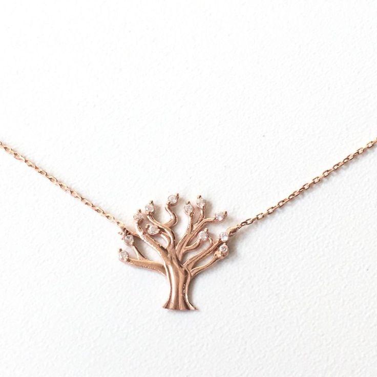 NEW TURKISH HANDMADE STERLING SILVER LIFE OF TREE NECLACE w ZIRCON STONES  | eBay