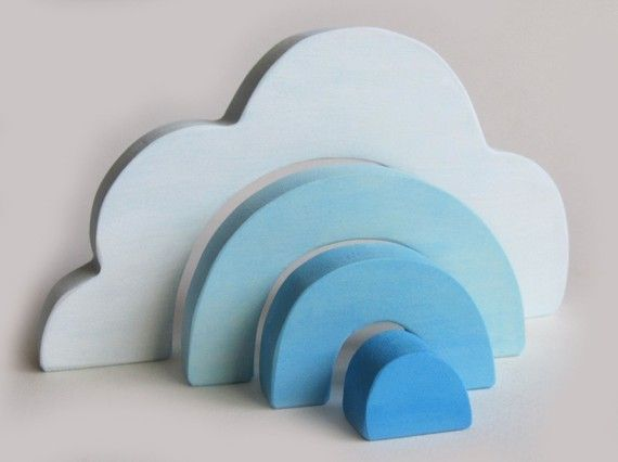 Wooden Cloud Stacker Waldorf Toy Ecofriendly by Imaginationkids, $14.00