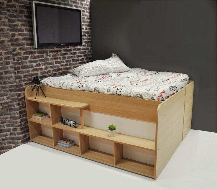 Lit coffre compact avec rangements studio lit coffre - Ikea lit avec tiroir de rangement ...