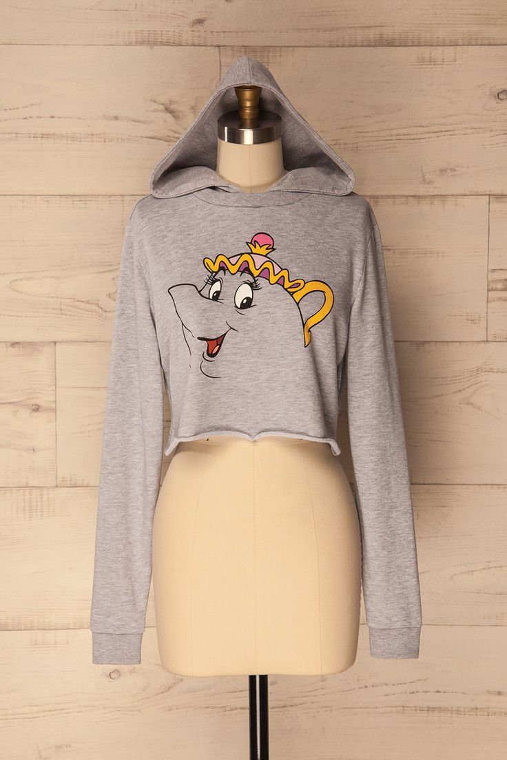 """Mme. Samovar #Boutique1861 / """"Pretty eyes, proud face, perfect canvas! Yes! I will find you something worthy of a princess!"""" This comfy cotton hoodie will keep you warm and looking cool. The cropped length and Mrs. Potts print gives a touch of whimsy. Perfect for lounging about or layering with your favourite denim jacket. All princesses deserve to be stylishly comfy!"""