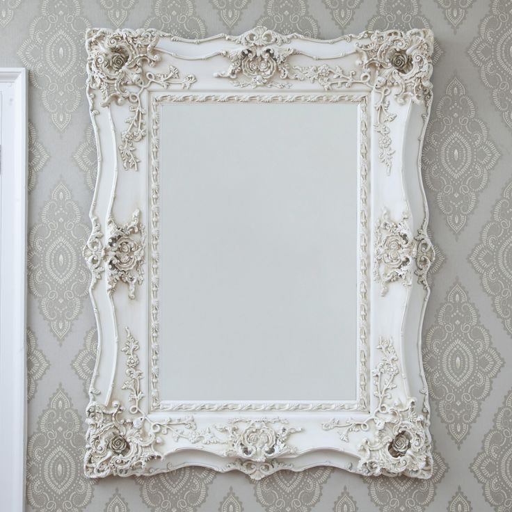 Vintage Ornate Ivory Decorative Mirror