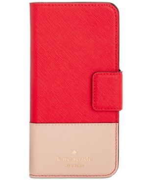kate spade new york Leather Wrap iPhone 7 Folio Case - Orange