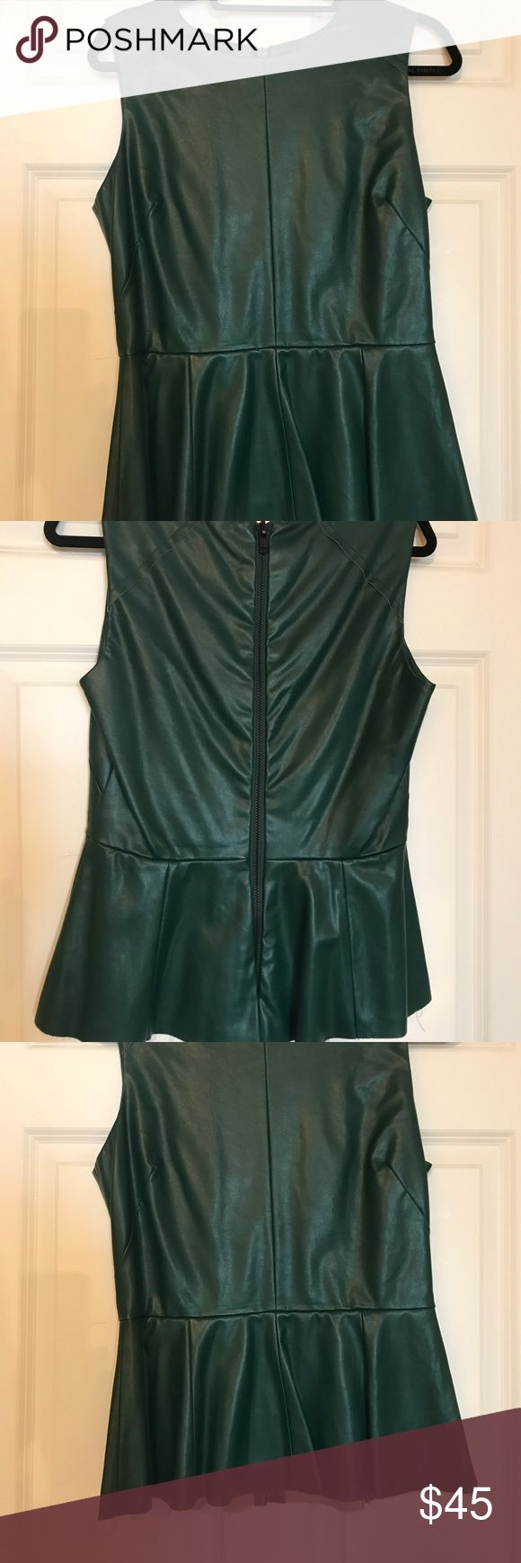 Bottle green leather peplum Top Walter Baker butter leather peplum Top in sumptuous bottle green. Size medium. Lovely layering piece. Zipper back. Gently worn. W118 by Walter Baker Tops