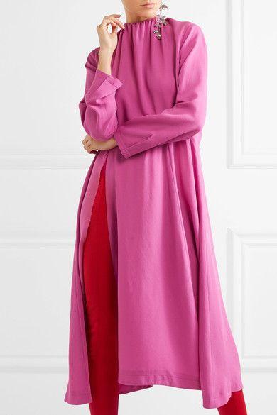 Balenciaga - Split-side Silk-georgette Midi Dress - Pink - FR40