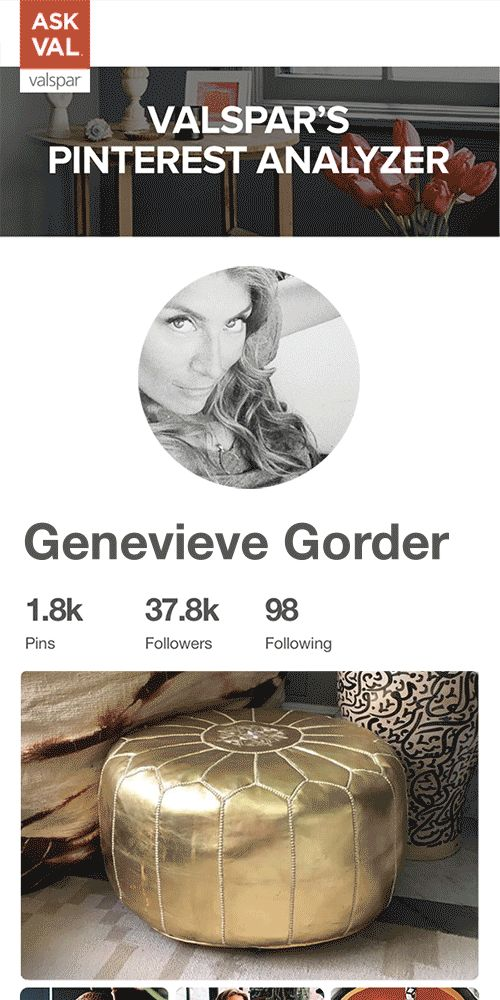 Our style extraordinaire, Genevieve Gorder, spends her time cultivating Pin-perfect Boards. Valspar's Pinterest Analyzer is a tool that reveals the paint colors hiding in those Boards. So we analyzed one of Genevieve's to discover the colors that match her style. Analyze your own Boards and Pins at AskVal.com
