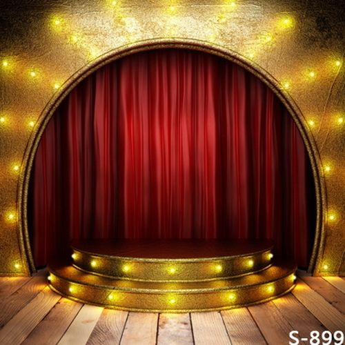 29.00$  Buy now - http://aliojd.shopchina.info/go.php?t=32633496241 - Golden Spark Light Red Curtain Stage Background Photography Custom Vinyl Backdrops with Wood Floor for Kids Photos Wedding Props 29.00$ #magazine