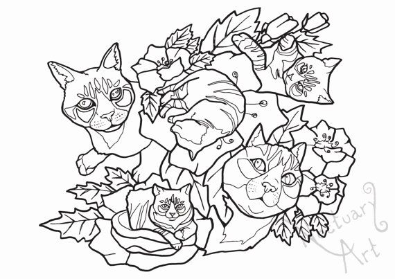 A printable coloring page titled Cats and flowers. Release the inner crazy cat…