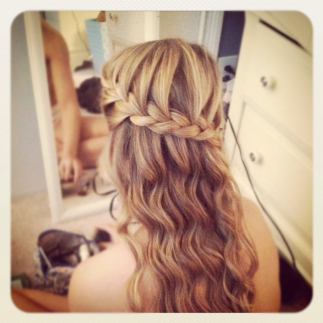 Loose Curls With Braid Around The Head Hairstyles Hair