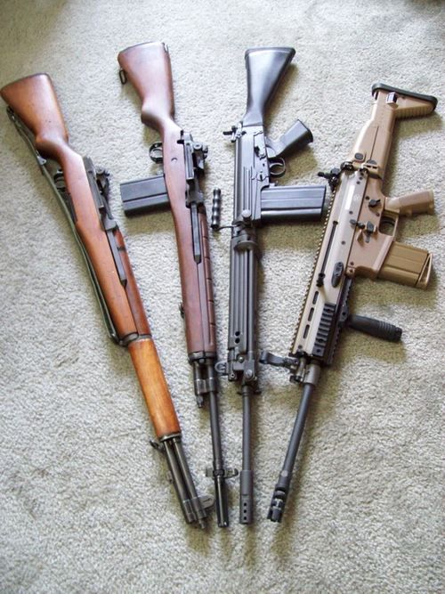 M1 Garand, M14, FN FAL, FN SCAR-17. Last three in 7.62x51mm NATO. The Garand is in 7.62x63mm (.30 US rifle)